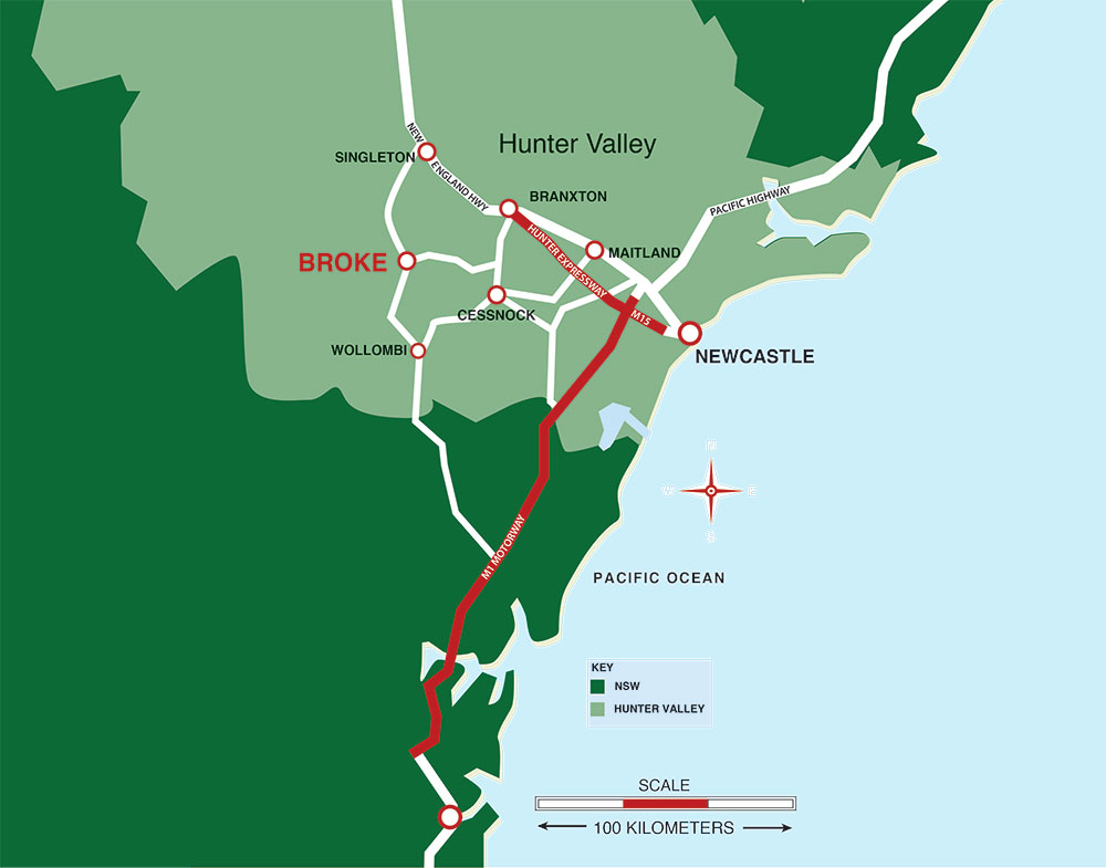 Map Of Hunter Valley Hunter Valley Location Map | A Little Bit of Italy in Broke Map Of Hunter Valley