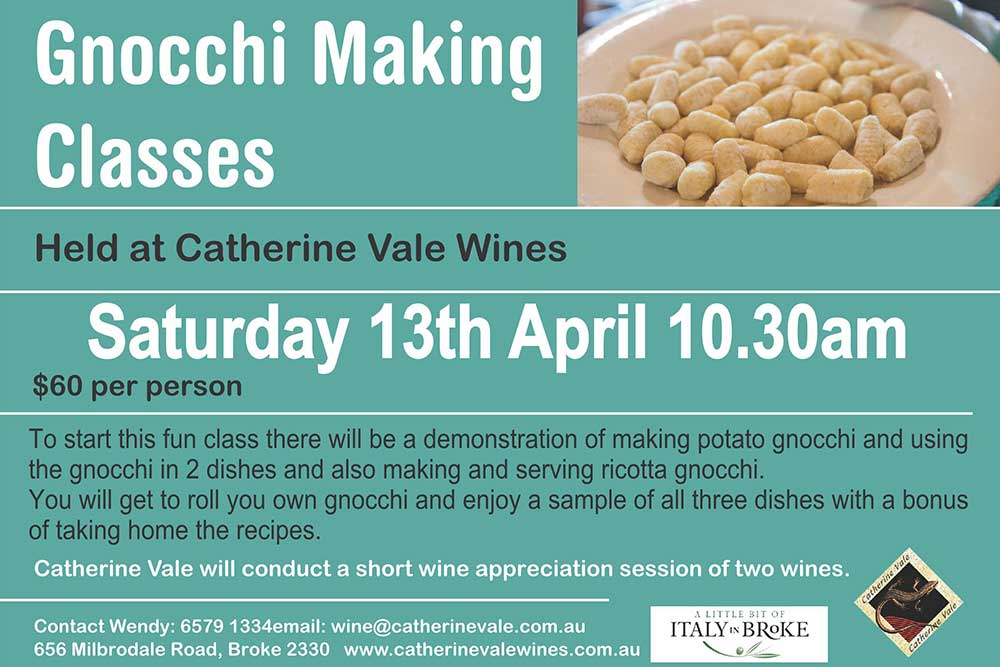 Catherine Vale Wines, Gnocchi Making Class